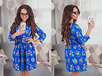 Платье женское короткое с цветочным принтом и поясом P1074, фото 1