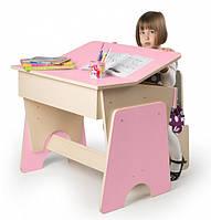 Парта для девочки и стульчик, розовая (с 3 до 15), фото 1