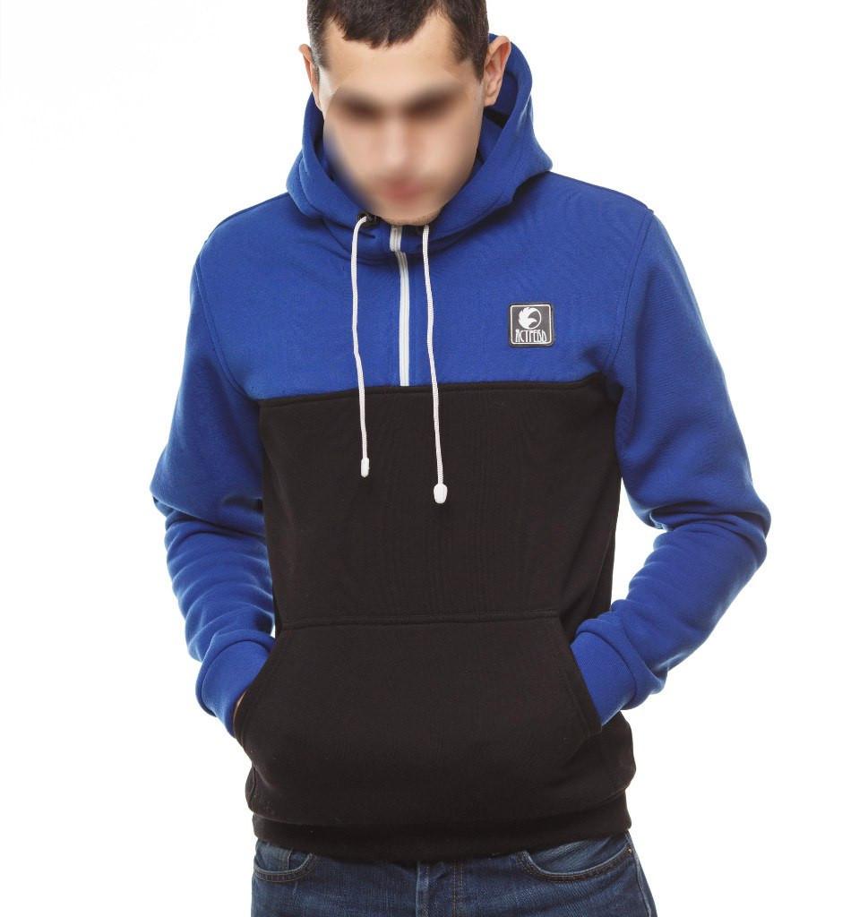 d8839f15 Кофта мужская кенгурушка с капюшоном Ястреб Черно-Синяя -