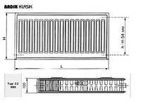 Радиатор стальной RK  тип 22 - K 500 x  600 KORADO RADIK KLASIK 22050060-50-0010