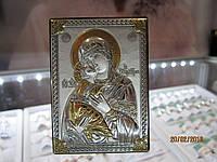 Икона Матерь Божья с серебрянным покрытием,производство Италия