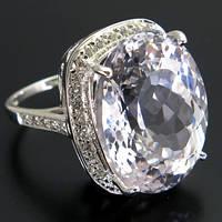 Кольцо серебро 925 пробы белый топаз 30,20 карат