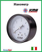 """Icma Манометр Ø63. Заднее подключение 1/4""""  0-4 бар Арт. 243"""