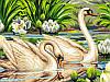 Раскраска по номерам Лебеди и лотосы