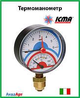 """Icma Термоманометр радиальный с запорным клапаном 1/2""""  0-4 бар Арт. 258"""