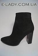 Черные ботиночки из натуральной замши на каблуке, фото 1