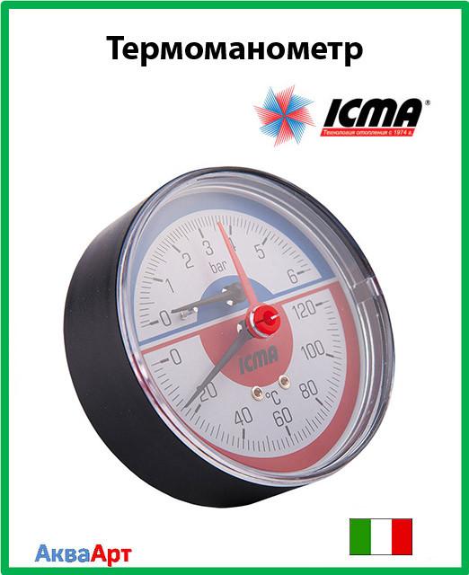 """Icma Термоманометр с запорным клапаном. Заднее подключение  1/2""""  0-10 бар Арт. 259"""