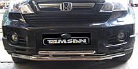 Защита переднего бампера - труба двойная (нержавейка d=70/48) для Honda CRV 2007+
