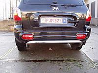Защита заднего бампера - труба (нержавейка d=70 типа U) для Hyundai Santa Fe I (2000-2006)