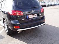 Защита заднего бампера - труба (нержавейка d=70 типа U) для Hyundai Santa Fe II (2006-2012)