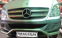 Защита переднего бампера - ус одинарный (нержавейка d=70) для Mercedes-Benz Sprinter 2004-2015+короткая ,средняя и длинная базы