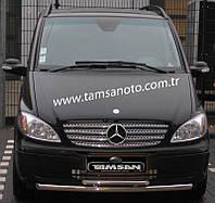 Защита переднего бампера - труба двойная (нержавейка d=70/48) для Mercedes-Benz Viano 2004-2010 2011-2015+