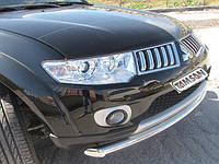 Защита переднего бампера - ус двойной (нержавейка d=70/48) для Mitsubishi L200