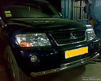 Защита переднего бампера - ус двойной (нержавейка d=70/48) для Mitsubishi Outlander 2008+ 2012+