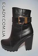 Ботиночки женские черные из натуральной кожи на тракторной подошве, фото 1