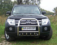 Защита переднего бампера - кенгурятник высокий (нержавейка d=76) для Mitsubishi Pajero 4