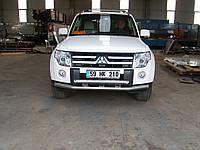 Защита переднего бампера - труба двойная (нержавейка d=70/48) для Mitsubishi Pajero 4