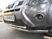 Защита переднего бампера - ус двойной (нержавейка d=70/48) для Nissan Juke