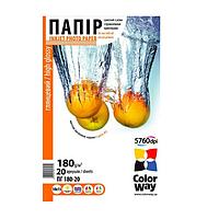 Бумага  ColorWay глянц. 180г/м, 10x15 PG180-20 карт.уп.