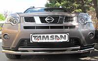 Защита переднего бампера - труба двойная (нержавейка d=70/48) для Nissan X-trail 2008+ 2014+