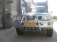 Защита переднего бампера - кенгурятник с грилем высокий (d=70) для Nissan Patrol