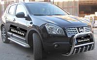 Защита переднего бампера - кенгурятник с грилем (d=60) для Nissan Qashqai 2008-12 Qashgai 2014+