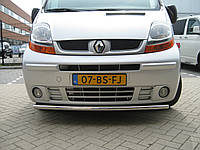 Защита переднего бампера - труба двойная (нержавейка d=70/48) для Renault Trafic 2008-15+ короткая и длинная базы