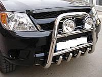 Защита переднего бампера - кенгурятник с грилем высокий (d=70) для Toyota Highlander 2008+ 2014+2015+