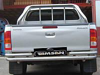 Защита заднего бампера - труба изогнутая (нержавейка d=70) для Toyota Hilux 2008+ 2015+