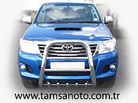 Защита переднего бампера - кенгурятник с грилем высокий (d=70) для Toyota Hilux 2008+ 2015+