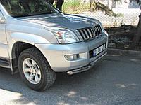 Защита переднего бампера - труба двойная (нержавейка d=70/42) для Toyota Land Cruiser 100