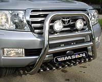Защита переднего бампера - кенгурятник с грилем высокий (d=70) для Toyota Land Cruiser 120