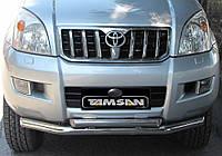 Защита переднего бампера - труба двойная (нержавейка d=70/48) для Toyota Land Cruiser 120