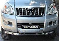 Защита переднего бампера - труба двойная (нержавейка d=76/58) для Toyota Land Cruiser 120