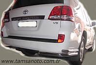Защита заднего бампера - углы двойные (d=48/70) для Toyota Land Cruiser 200 2008+ 2015+
