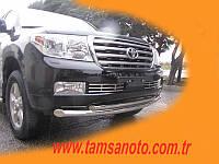 Защита переднего бампера - труба двойная (нержавейка d=76/58) для Toyota Land Cruiser 200 2008+ 2015+