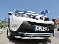 Защита переднего бампера - труба двойная (нержавейка d=70/48) для Toyota RAV4 2006-2012 2013+
