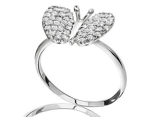 Серебряное родированное кольцо бабочка усыпка россыпь цирконием, фианитом к00167кв