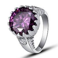 "Перстень,стиль""Маркиз"",камни аметист, белый сапфир,размер 18"
