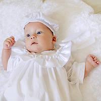 Детский берет Славянский от Miminobaby белый с серебристой тесьмой 44-48см