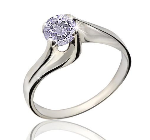 Серебряное родированное кольцо солитер с одним сиреневым лиловым камнем цирконием, фианитом к00249р кв