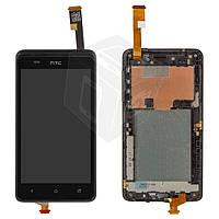 Дисплейный модуль (дисплей + сенсор) для HTC Desire 400 Dual, с передней панелью, черный, оригинал