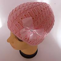 Детская вязаная шапка для девочки 6-8 лет оптом