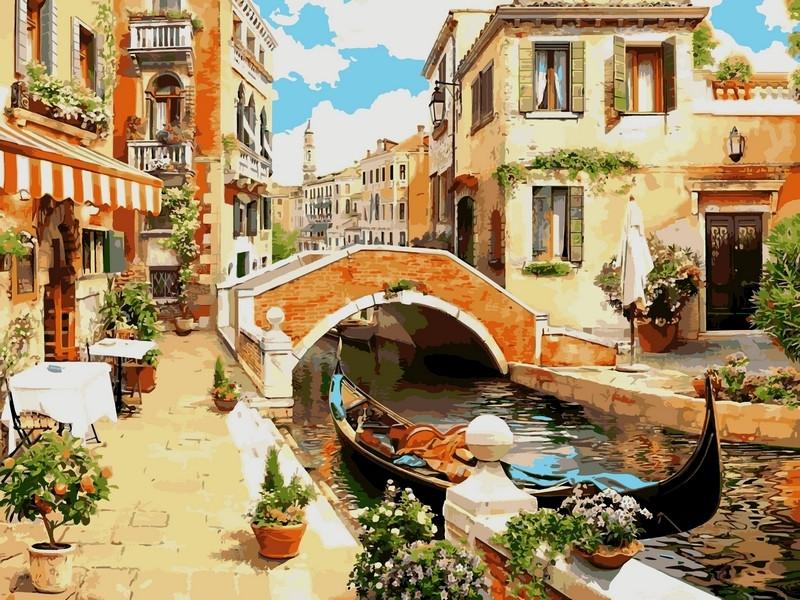 Картина по номерам 30×40 см. Венецианский мостик