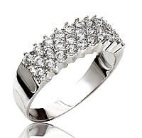 Серебряное родированное кольцо дорожка усыпка россыпь цирконием, фианитом 32888