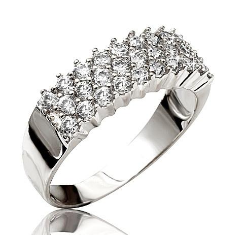 1931bb39a35c Серебряное родированное кольцо дорожка усыпка россыпь цирконием, фианитом  32888 - SINARA.UA - Ювелирный