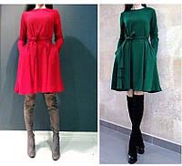 Платье женское короткое трикотажное с карманами и ремешком P1084