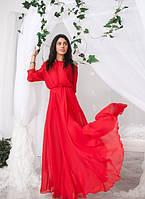Платье в пол шифоновое в  красно-малиновом цвете 01269