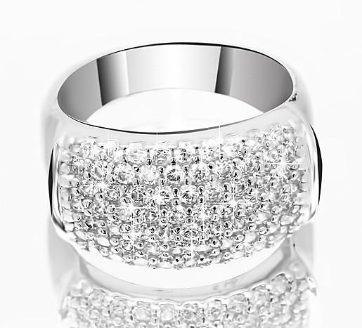 Серебряное родированное кольцо широкая дорожка усыпка россыпь цирконием, фианитом к00026 кв