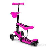 Самокат беговел скутер 3х колесный с сидением 4109 (466-146) Розовый